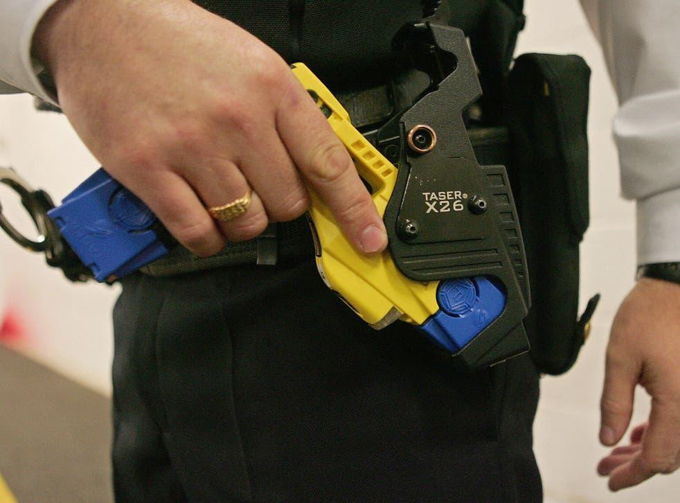 Taser gun training at the Metropolitan Police Specialist Training Centre in Gravesend, Kent