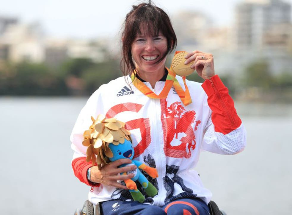 Jeanette Chippington celebrates with her Gold medal in the women's KL1 at the Lagoa Stadium yesterday