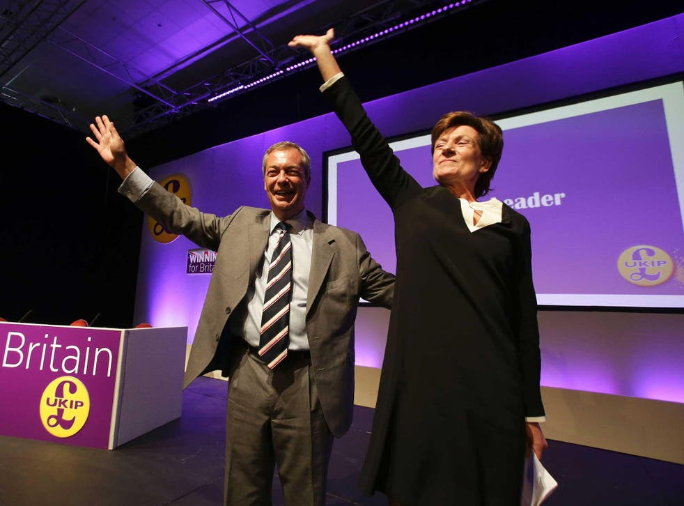 Nigel Farage introduces Diane James at the UKIP Autumn Conference in Bournemouth, September 2016
