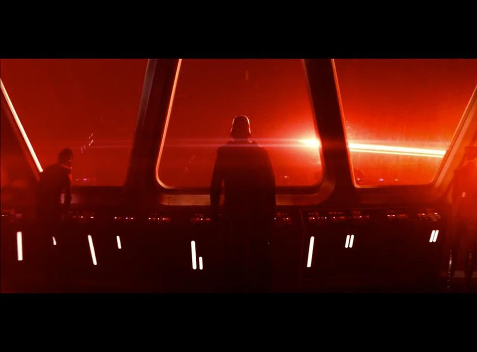 A still from The Force Awakens, one of two Star Wars films where a giant laser cannon is used