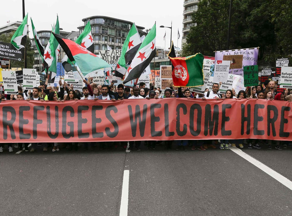 A march calling for the British Government to resettle more refugees in central London on September 17, 2016.