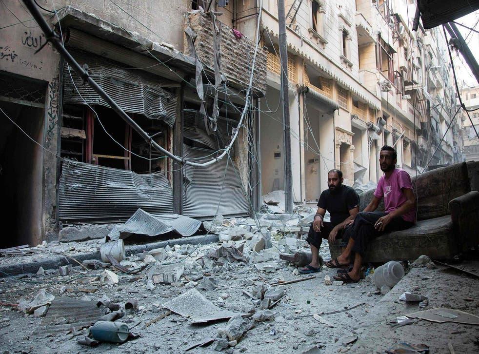 The aftermath of an air strike in Karm al-Jabal