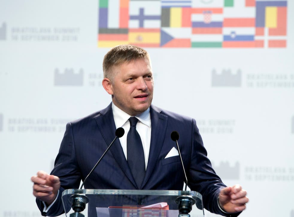 Slovakian Prime Minister Robert Fico speaks during a media conference at the conclusion of an EU summit in Bratislava