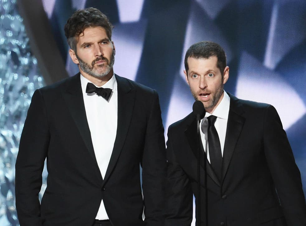 David Benioff and DB Weiss collecting gongs for Game of Thrones at the Emmys 2016