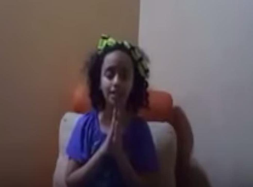 A screenshot from Yara's home-recorded message for world leaders to end the war in Yemen