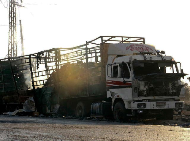 A UN humanitarian aid convoy in Syria was hit by airstrikes Monday as the Syrian military declared that a US-Russian brokered ceasefire had failed