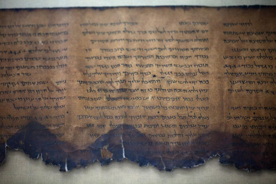 A Fragment Of The 2000 Year Old Dead Sea Scrolls Is Laid Out At