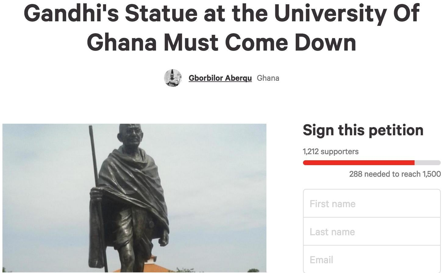 Professors At University Of Ghana Demand Removal Of Racist Gandhi