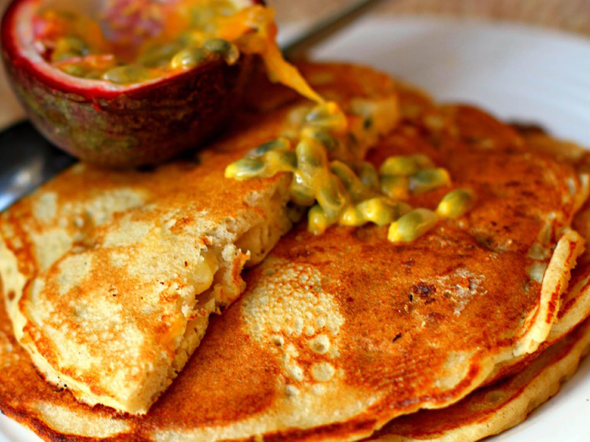 Brunch on Saturday: Mix up pancakes with crunchy fruit and indulge in duck