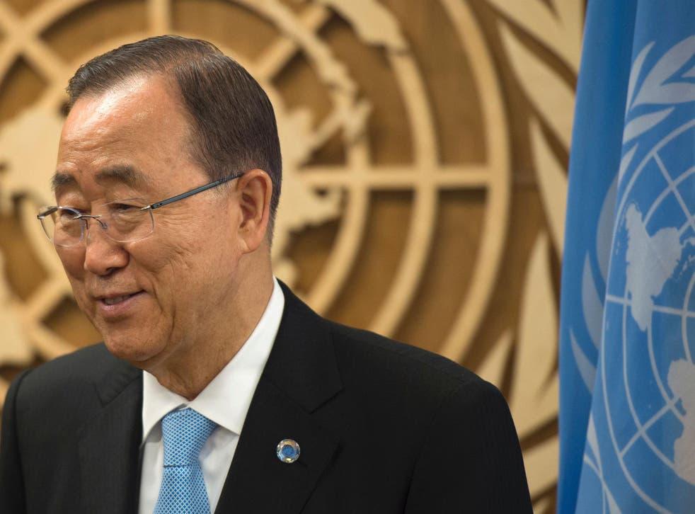 United Nations Secretary General Ban Ki-moon looks on during the United Nations General Assembly General Debate