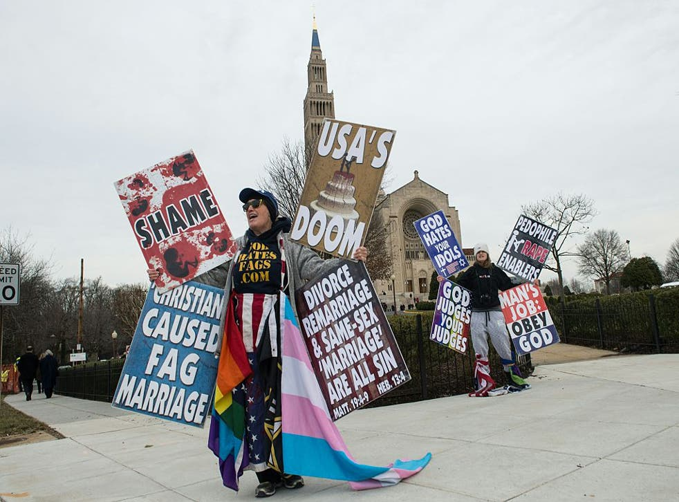 <p>Picture: Members of the Westboro Baptist Church demonstrate outside the Basilica of the National Shrine of the Immaculate Conception before the funeral service for Justice Antonin Scalia</p>