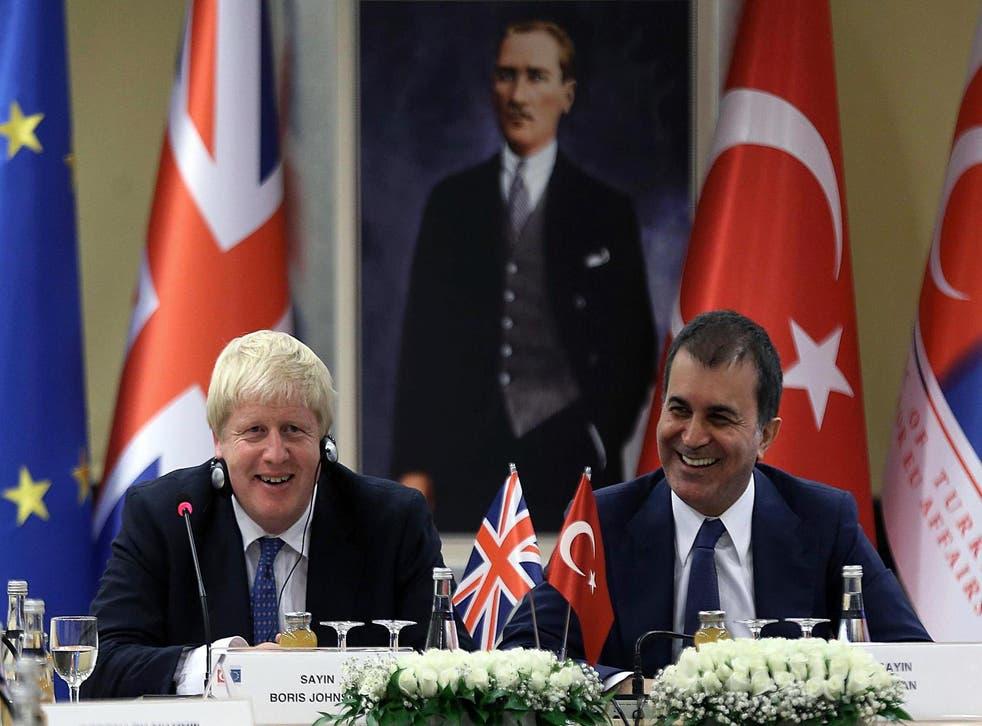 Boris Johnson and Turkish EU Affairs Minister Omer Celik.