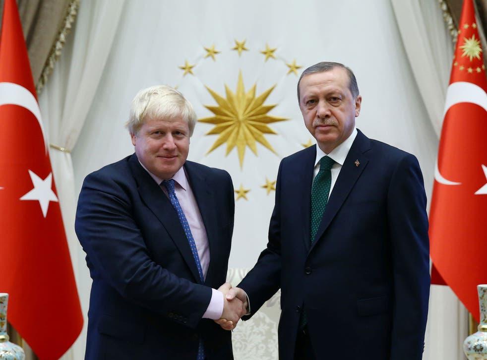 Boris Johnson and Recep Tayyip Erdogan at their meeting in Ankara