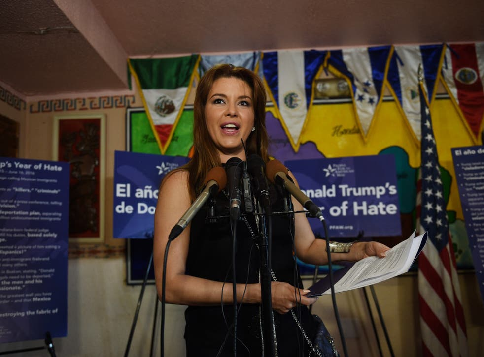 Alicia Machado campaigning against Donald Trump earlier this year