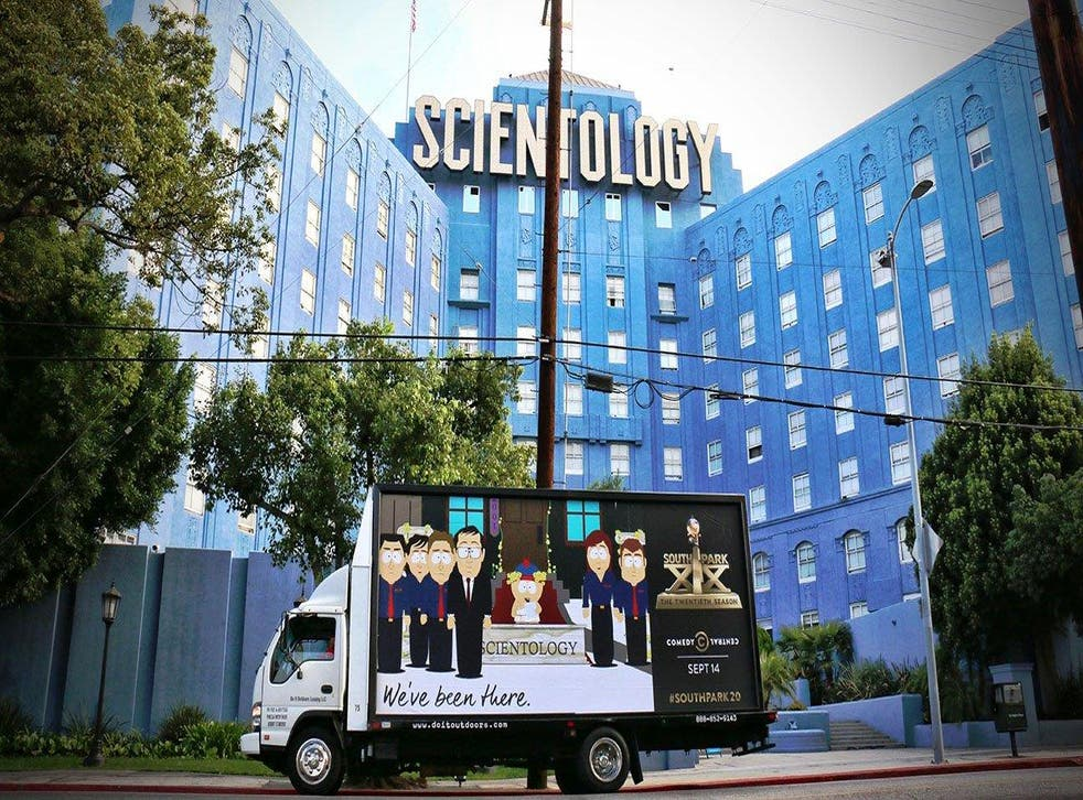South Park billboard outside the Church of Scientology in LA