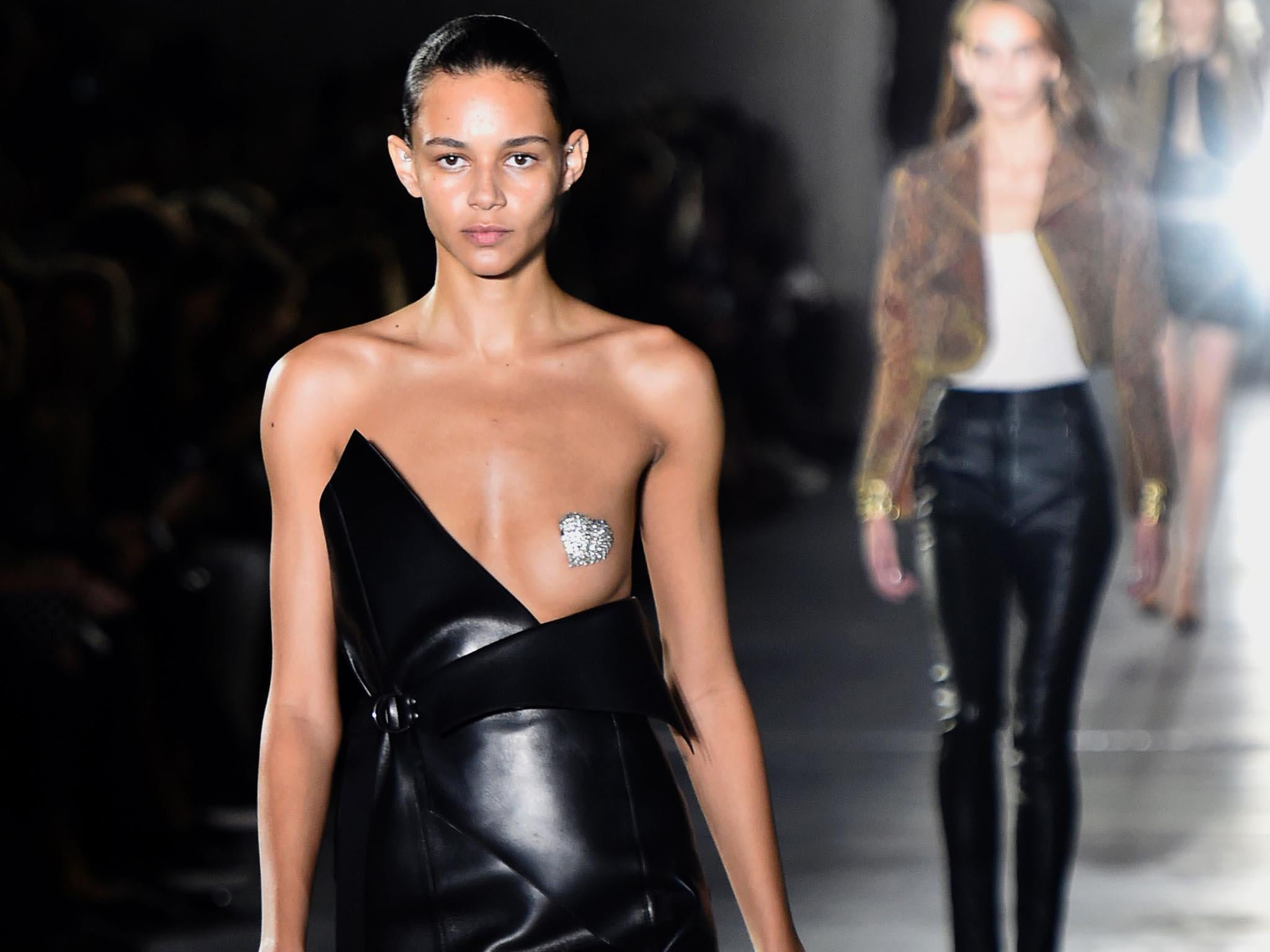 saint laurent unveils 'nip slip' dress – a glittery mono-boob outfit
