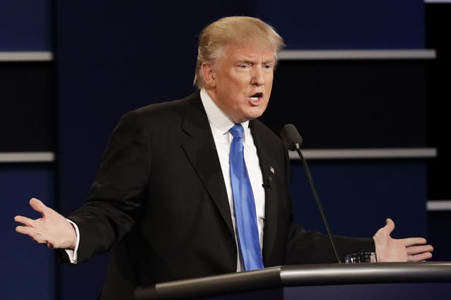 Donald Trump during the first presidential debate of the 2016 campaign at Hofstra University