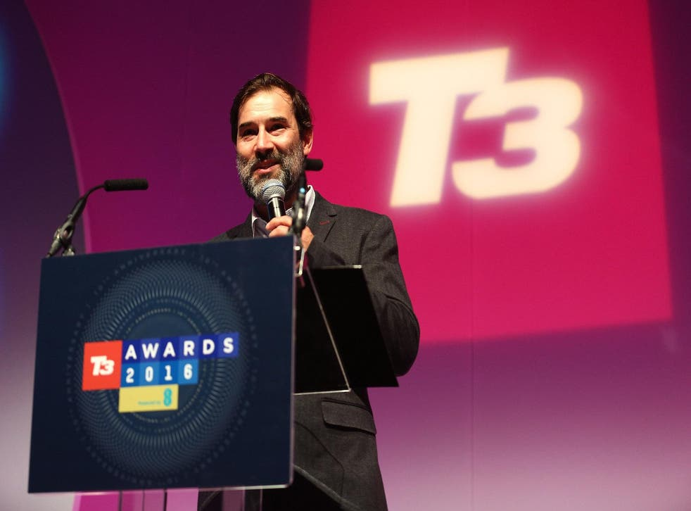 Adam Buxton presenting the T3 Gadget Awards 2016 at The Lindley Hall on September 28, 2016 in London, England