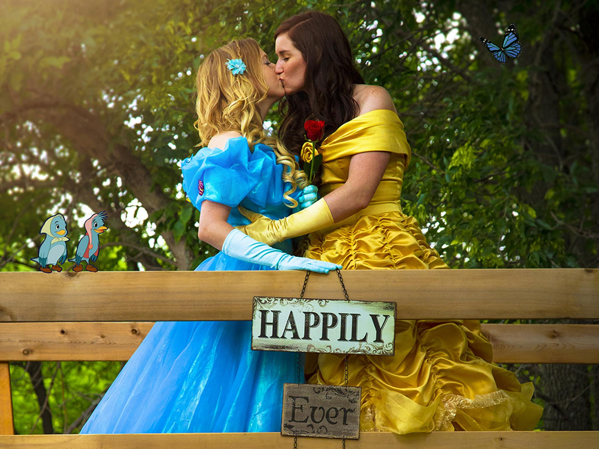 Same-sex couple celebrate their modern-day fairytale by dressing up as Disney princesses