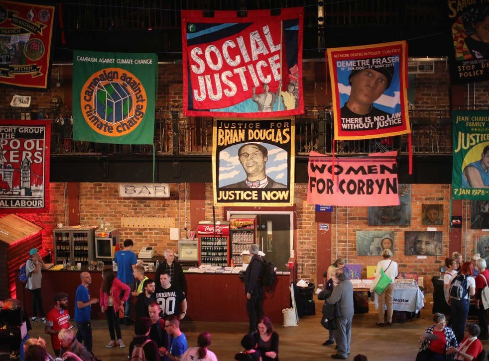 Momentum supporters gather at Liverpool's Black-E building for their fringe festival of politics