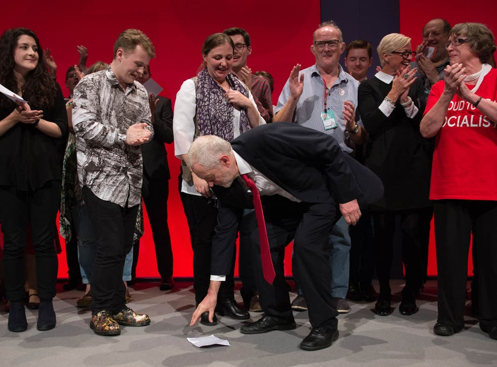 The Labour leader is applauded following his keynote speech on the final day of the Labour Party conference in Liverpool