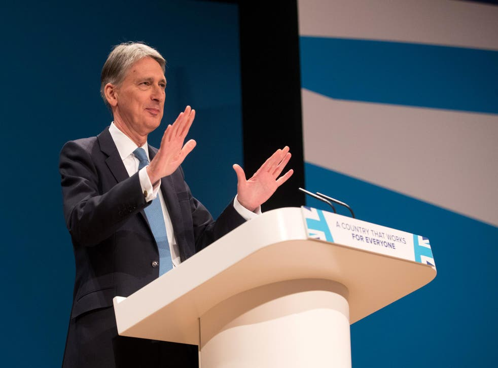 Chancellor Philip Hammond delivers his speech to Tory conference