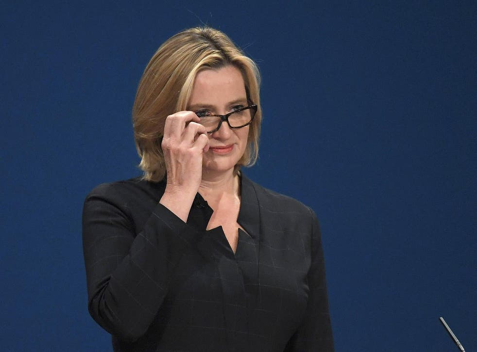 Amber Rudd delivers her keynote address at the annual Conservative Party Conference in Birmingham