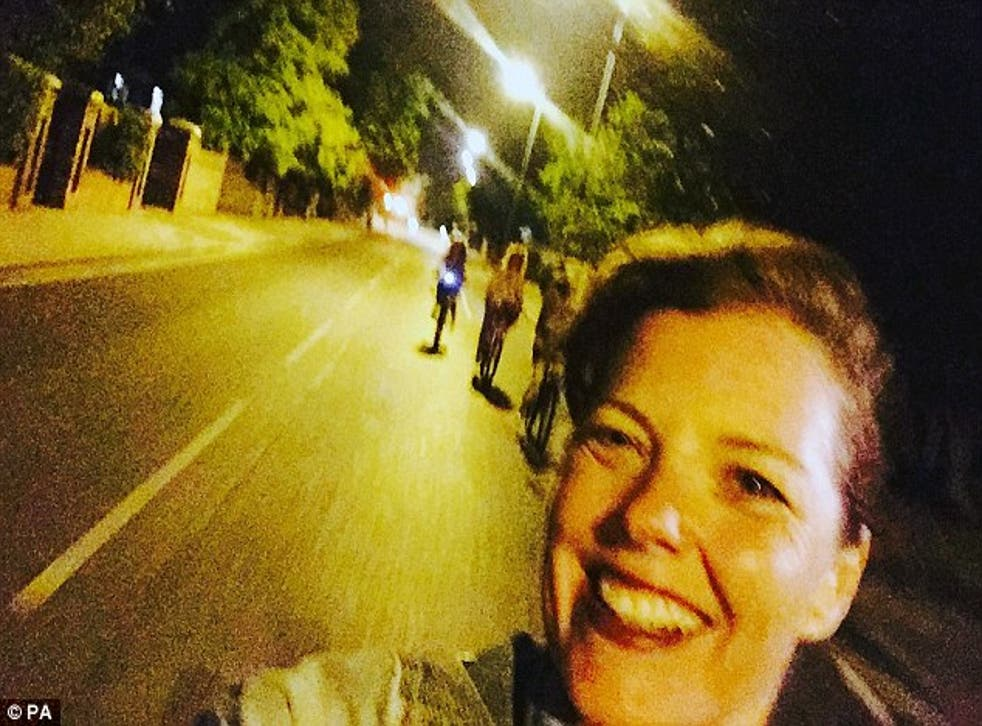 Mrs Greenway took this selfie moments before falling and cracking her skull after hitting an uneven patch on the road