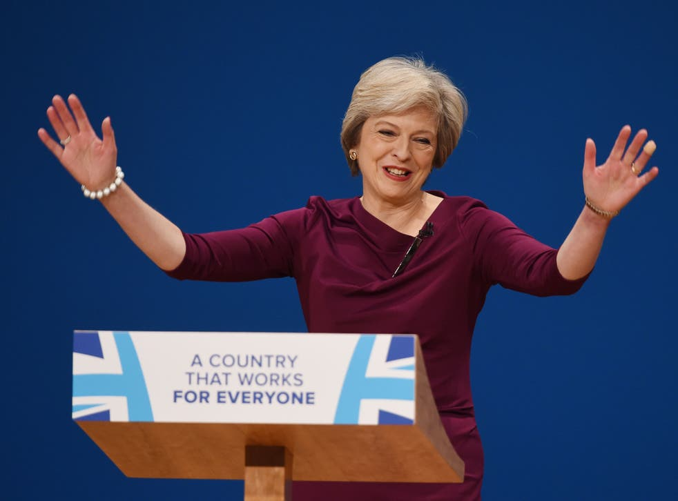 Prime Minister Theresa May speaking to the Conservative Party conference in Birmingham on Wednesday