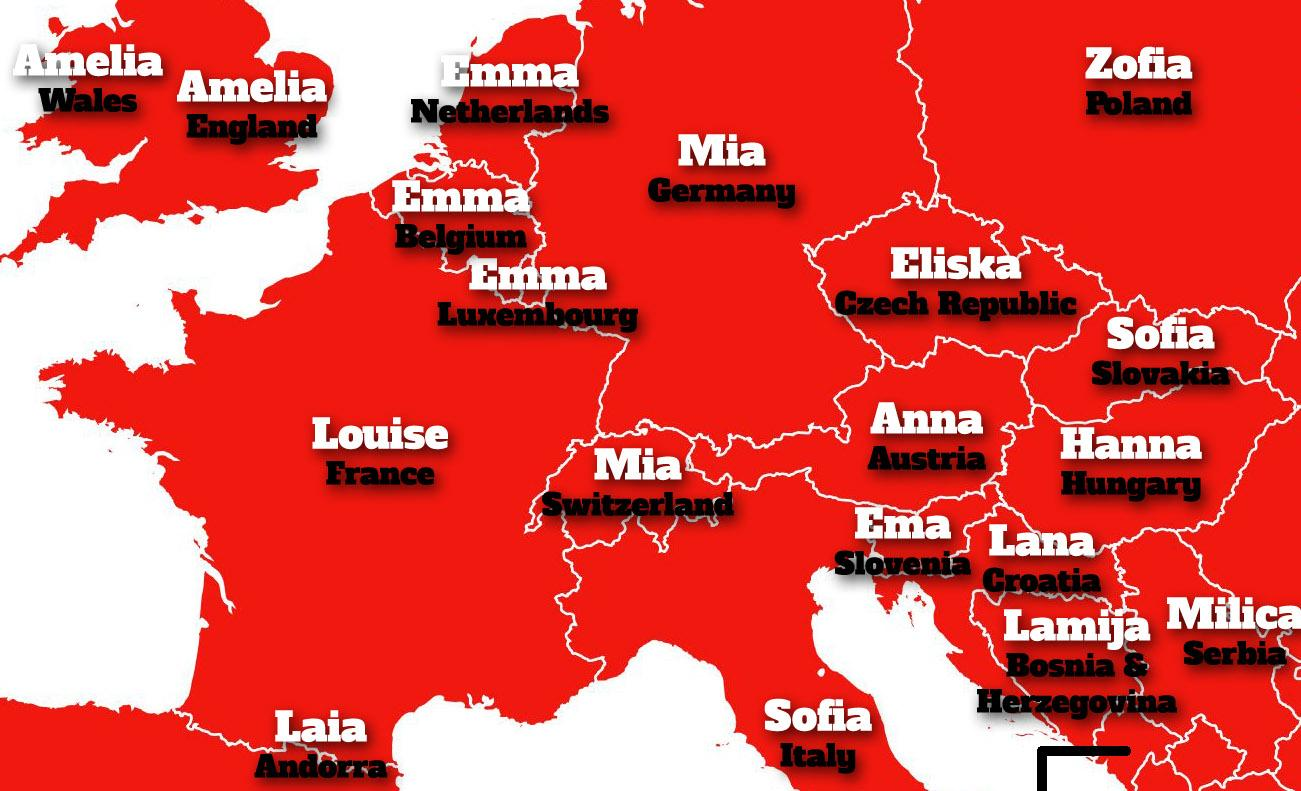 The most common given names in Europe, mapped | indy100