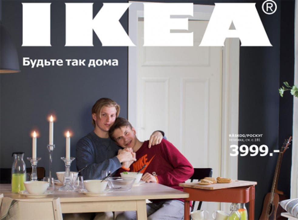 Lev Polyakov and his boyfriend, who posed together at the Khimki store in Moscow