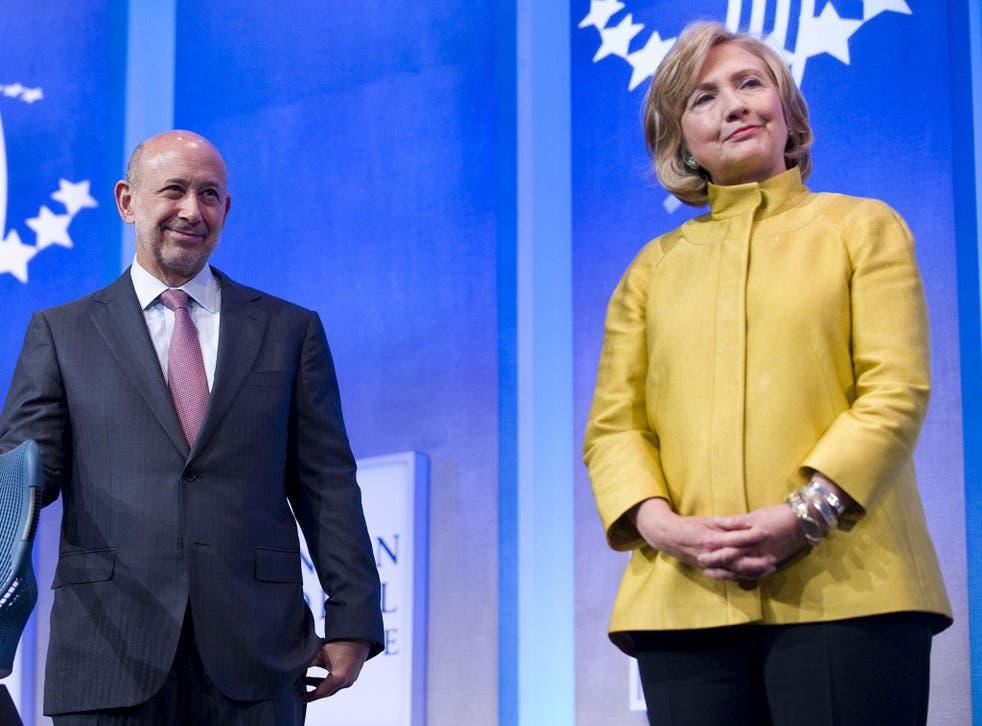 Hillary Clinton with Goldman Sachs chairman and CEO Lloyd Blankfein in 2014