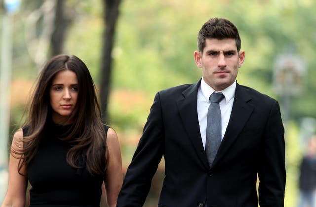 Ched Evans with partner Natasha Massey outside Cardiff Crown