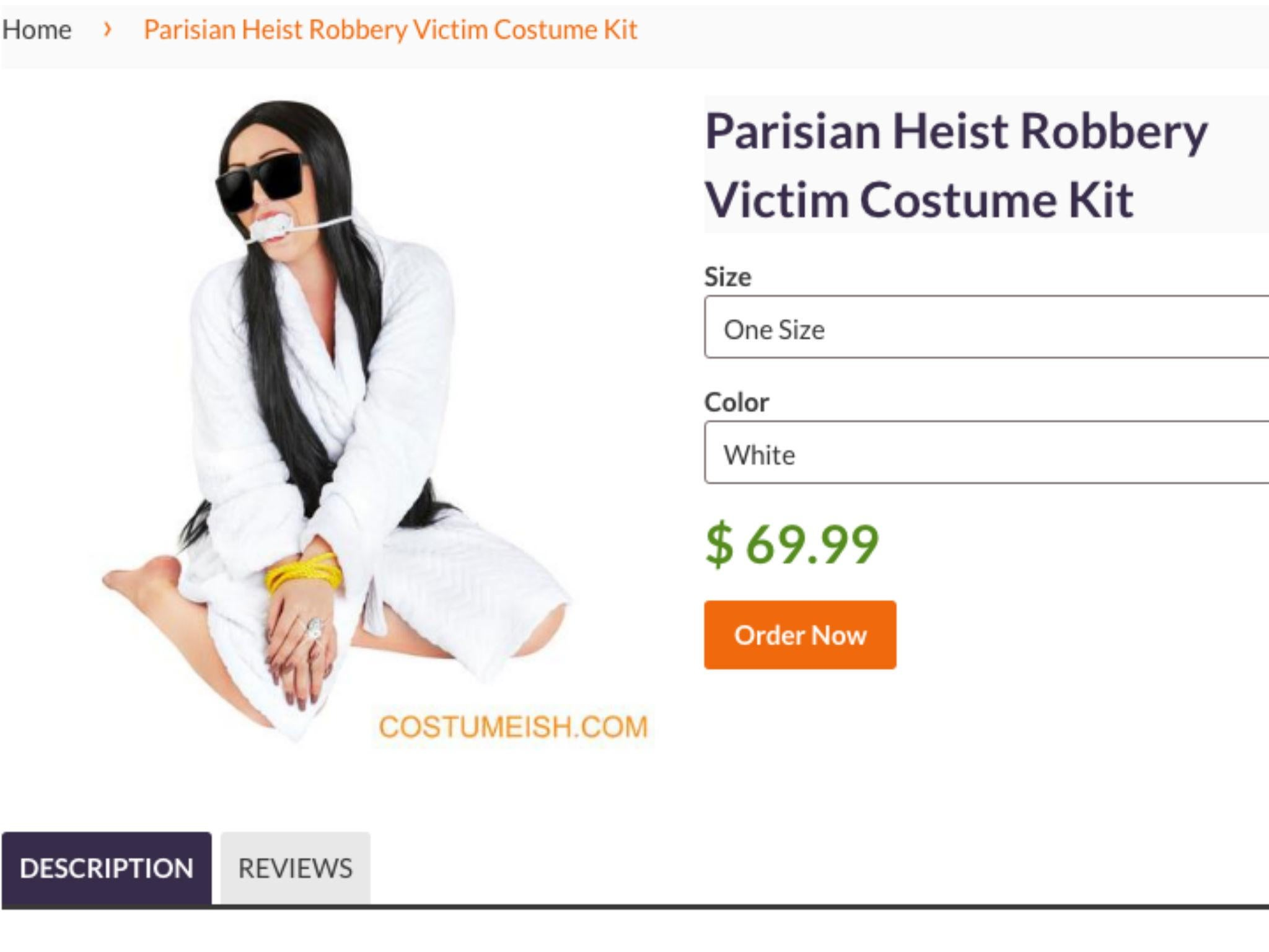Kim Kardashian Halloween costume inspired by robbery branded ...