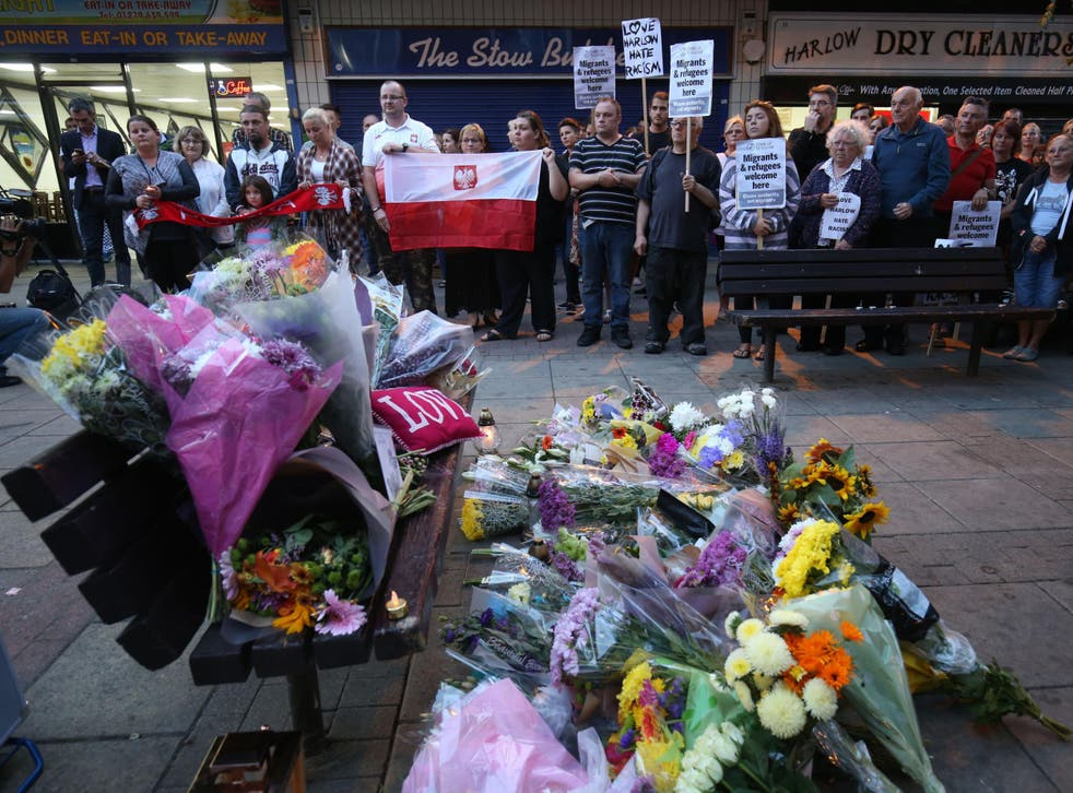 A vigil held in Harlow for Arek Jozwik, a Polish man killed in an attack believed to be a hate crime