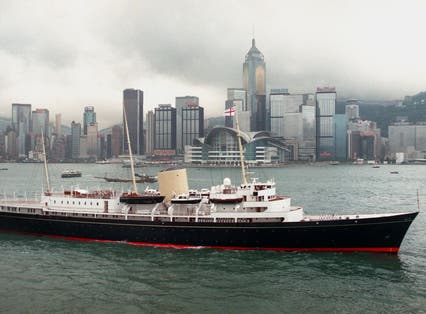 Her Majesty's Ship the royal yacht Britannia in Hong Kong before it was decommissioned in 1997