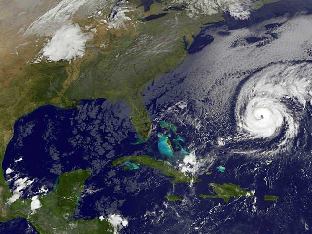 This NOAA-NASA Goes East project satellite image shows Hurricane Nicole heading towards Bermuda