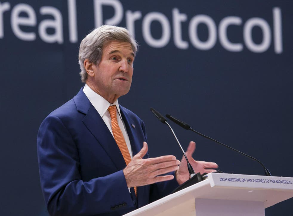 US Secretary of State John Kerry delivers a keynote address at the meeting promoting US climate and environmental goals