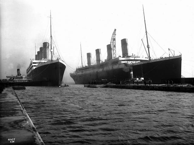 Rare photo evidence of the Titanic and Britannic side by side in Southampton docks