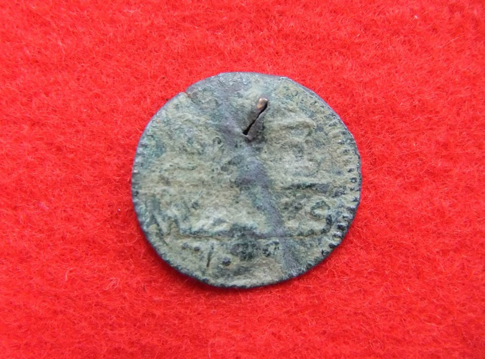 One of the Roman coins discovered