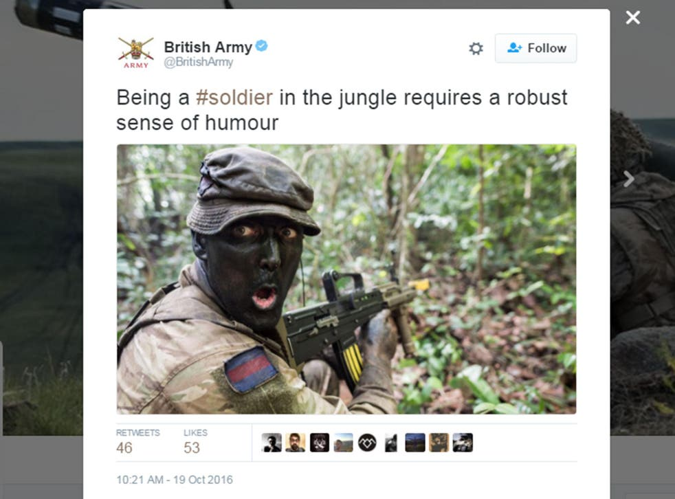 The tweet was posted from the British Army's official account but swiftly deleted following criticism
