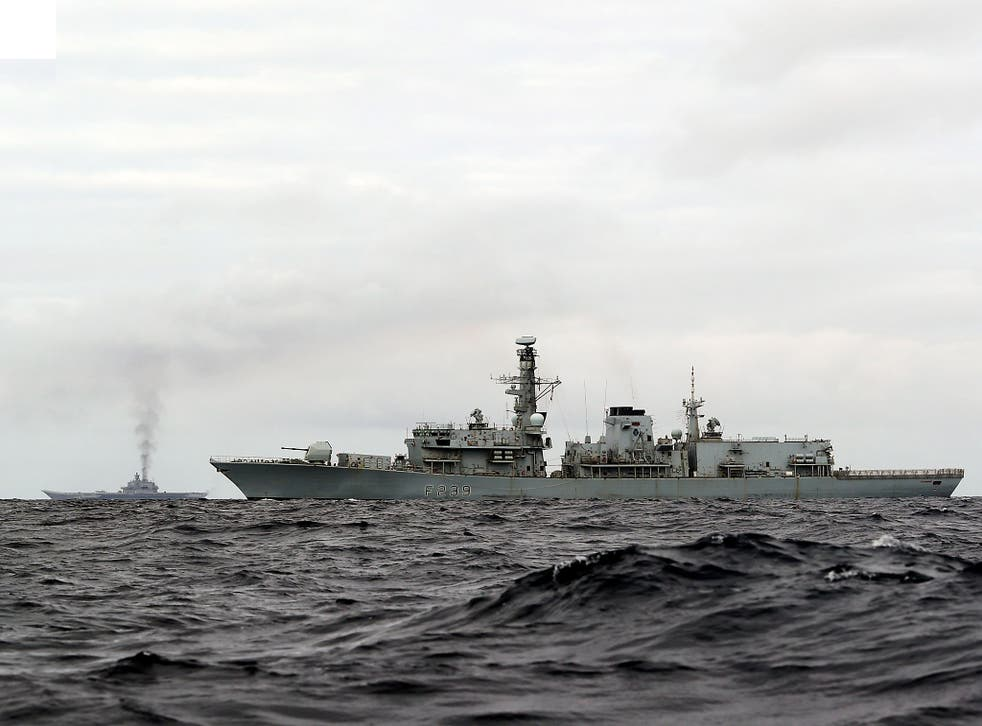 <p>File photo. HMS Richmond (front), a Type 23 Duke Class frigate, observing aircraft carrier, which is part of a Russian task group, during transit through the North Sea</p>