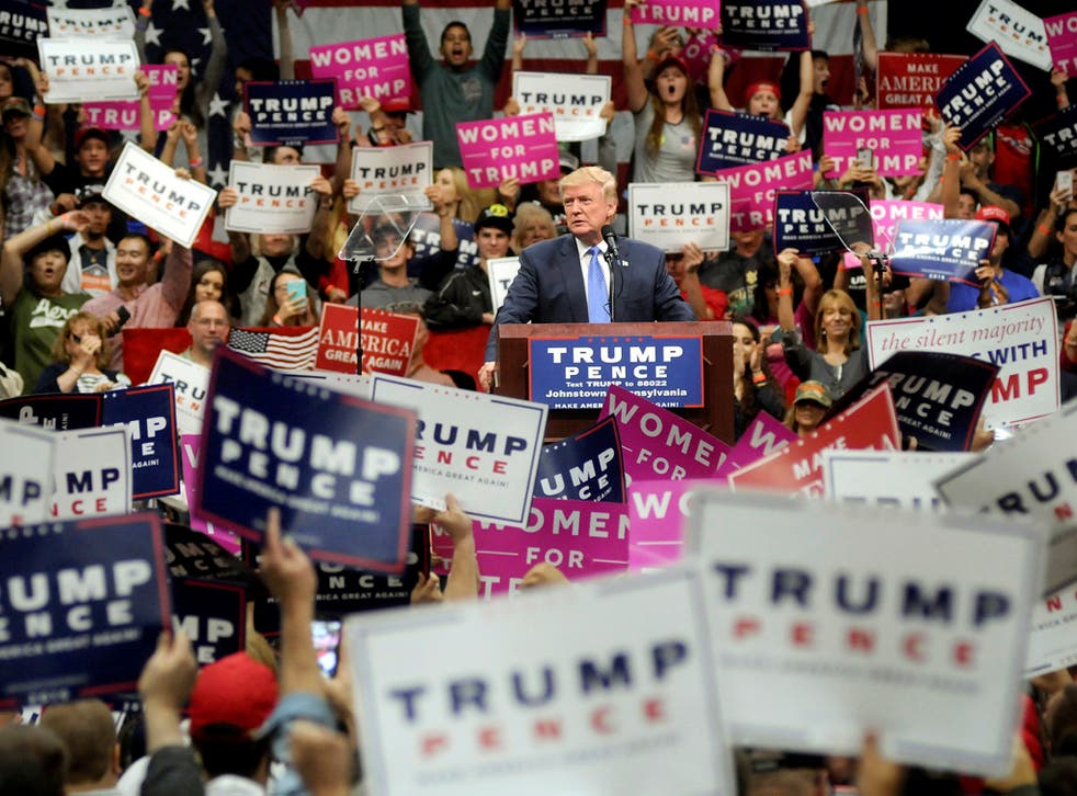 Republican presidential nominee Donald Trump rallies supporters at the Cambria County War Memorial Arena in Johnstown, Pa