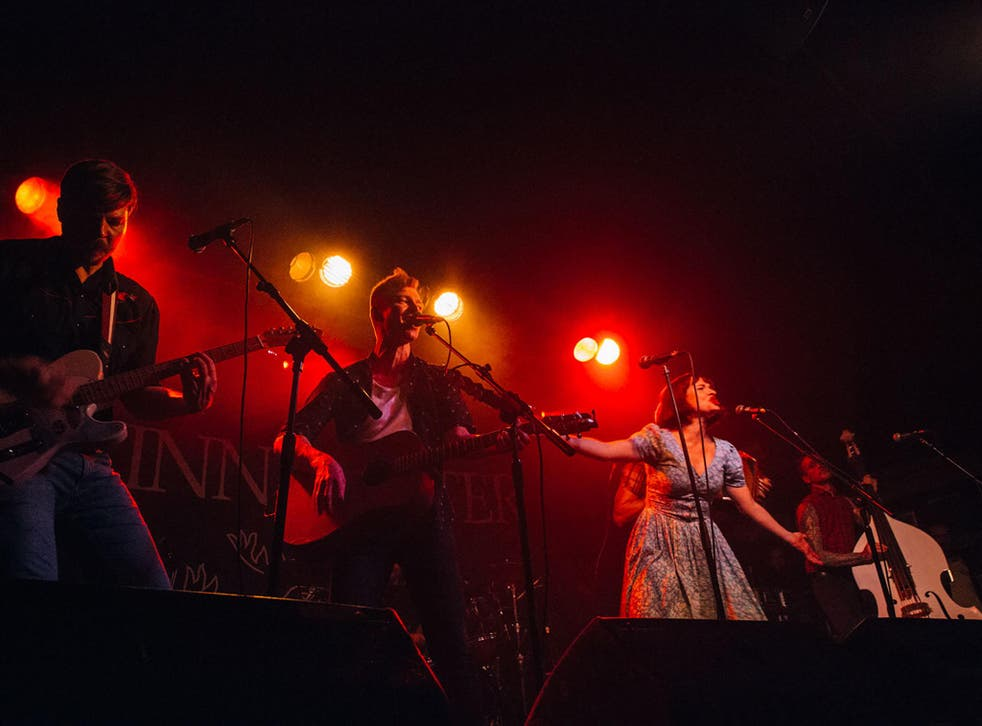 From left to right: Sam Brace, Dan Heptinstall, Lorna Thomas and Michael Camino on the final night of Skinny Lister's UK tour