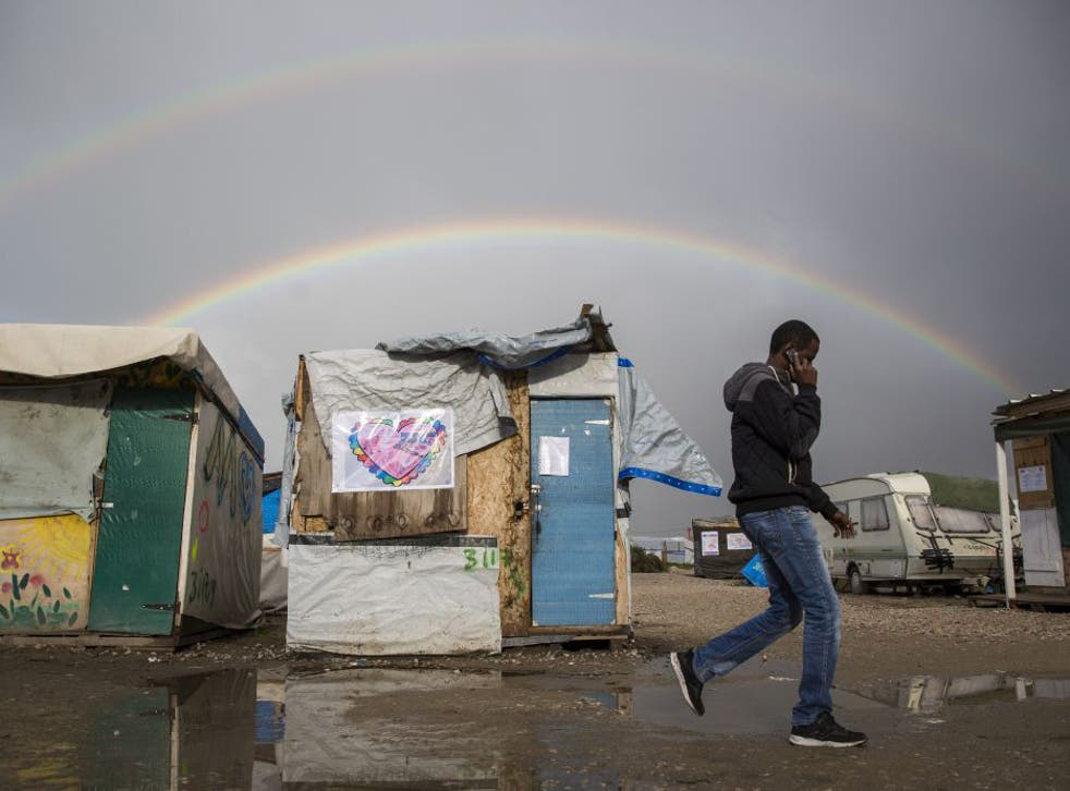 The refugee camp in Calais, which is due to be demolished tomorrow