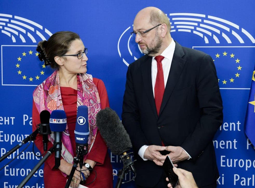 Canadian trade minister Chrystia Freeland with European Parliament president Martin Schulz at the European parliament in Brussels