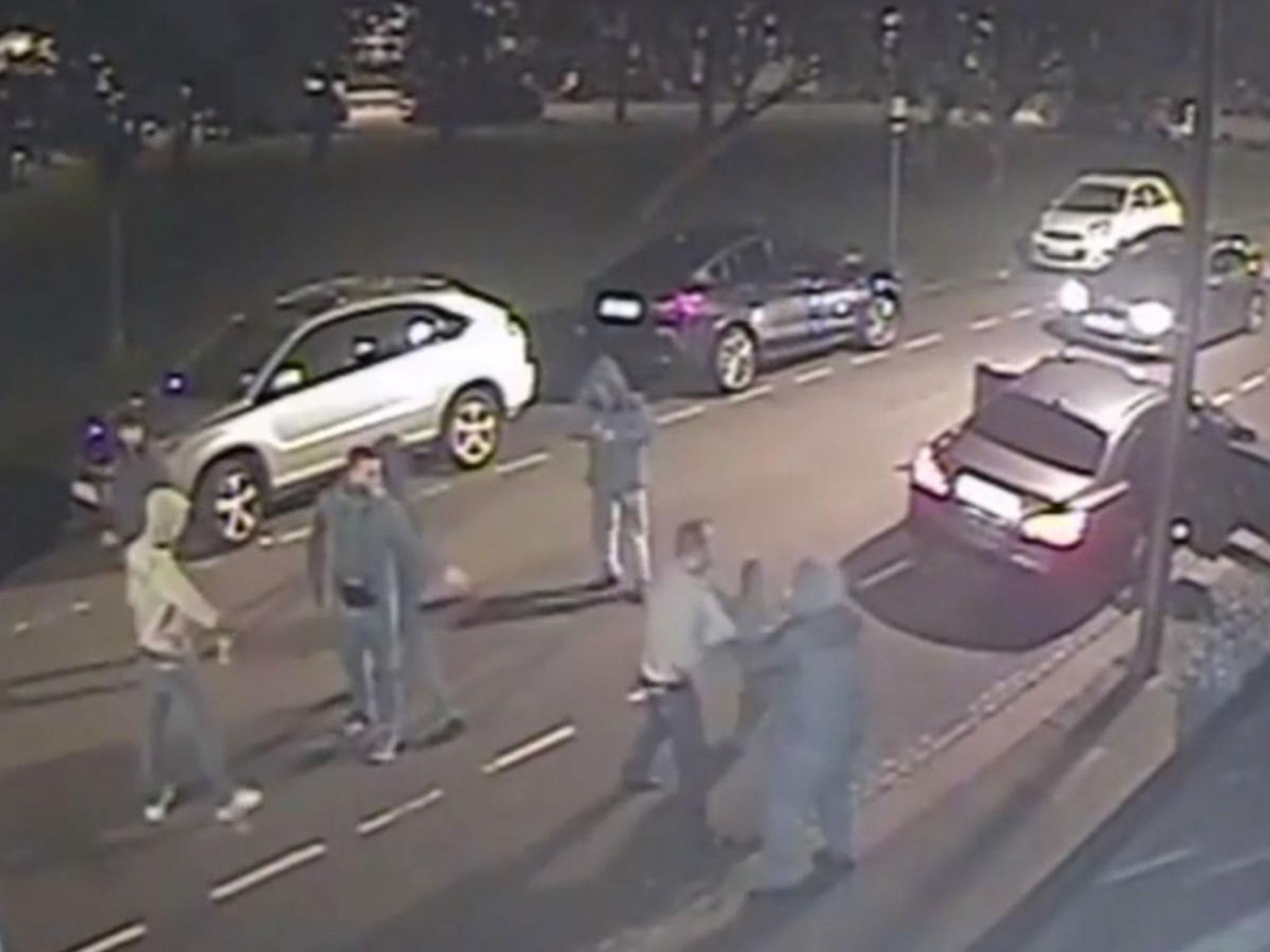 CCTV captures shooting during 12-man brawl in north London