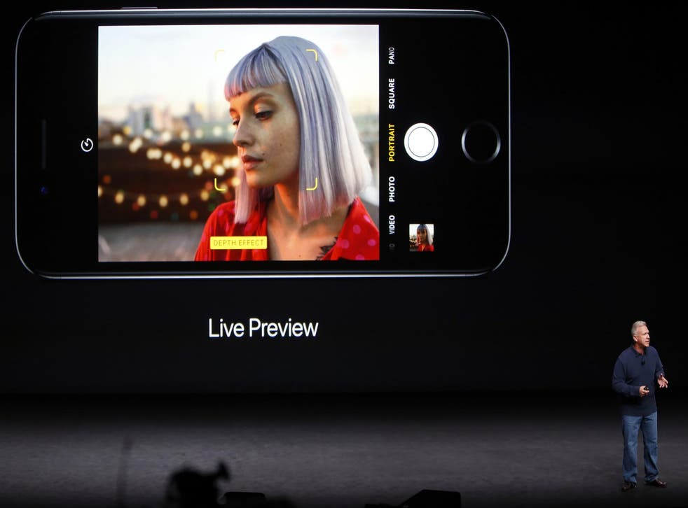 Phil Schiller, Senior Vice President of Worldwide Marketing at Apple Inc, discusses the depth of field and bokeh effects in the iPhone 7 Plus during an Apple media event in San Francisco, California, U.S. September 7, 2016