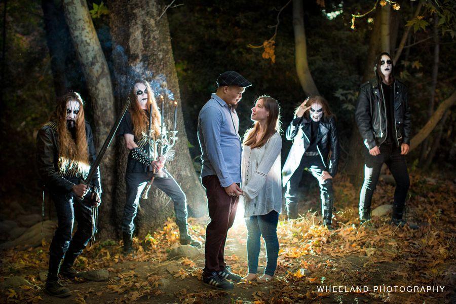 Black metal band stumble across engagement shoot, crash it