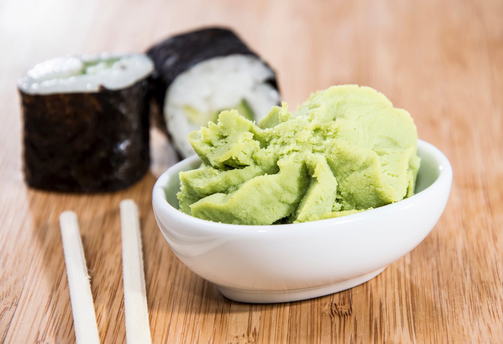 Wasabi paste on your plate is probably mashed-up horseradish with food colouring